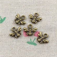 35pcs bee Charms Antique Bronze Plated Zinc Alloy Charms Pendants Metal Jewelry Findings Fit DIY 10*11mm