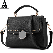 AITESEN Retro Big Black Button Michaeled Small Square Bag PU Leather Simple Rivet Bolsa Feminina Pequena Messager Bags Designer