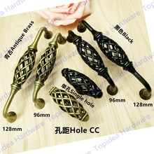 Single hole Hole CC 96mm/128mm black/Antique Brass zinc alloy furniture cabinet drawer birdcage handle