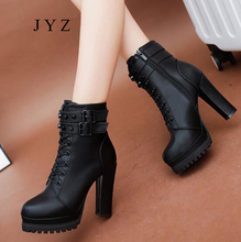 2018 Womens Ankle Boots Sexy Platform Pumps 겨울 퍼 Black 굽 Shoes Lady Fashion New aa0589(China)