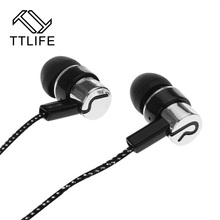 TTLIFE Cheap In-Ear Earphones HiFi 3D Stereo Bass Earbuds MP3 Player Wired Metal Headset for Xiaomi Phones Smartphone Hot Sale