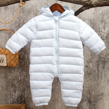 Infant Baby Boys Girls Rompers Autumn Winter 2017 New Solid Jumpsuit Toddler Girl Snow Suit Hooded Coat Children's Romper JF111