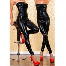 Buy Abbille Hot Sexy Women Strapless Latex Catsuit Black Faux Leather sleeveless 2018 Bodysuit Pole Dancing Costumes Erotic Jumpsuit