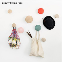 Wall Clothes Hanger Coat Wood Coat Rack Garden Round mushroom hook hook Wall hanger wooden Coat hooks Pretty Home Decoration(China)