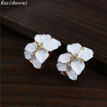 Kuziduocai New ! Fashion Fine Jewelry Gold Color Elegant Double Gardenias Flowers Rhinestone Paint Stud Earrings For Women E-161
