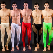 Men's Sexy Ultra-thin Long johns transparent Mesh See-thru Underwear Pants Tights Leggings for  Autumn winter