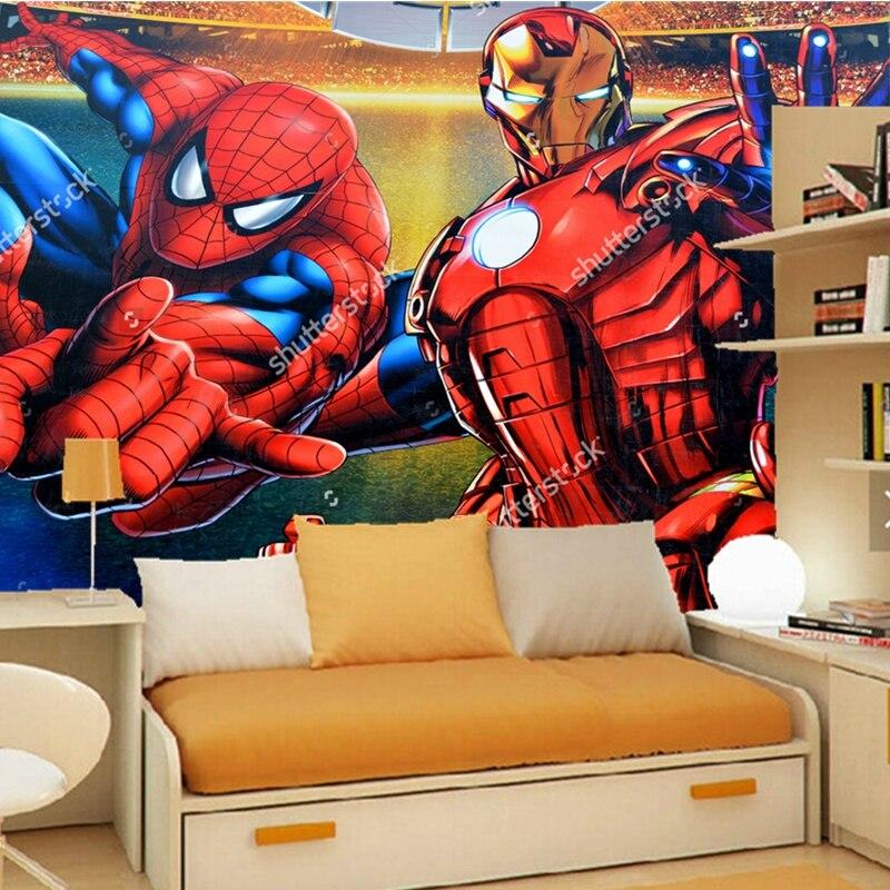 Custom papel DE parede infantil,Iron man and spider man,3D cartoon wallpaper for childrens room living room sofa wall wallpaper<br>