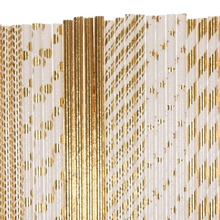 Free DHL 1500 pcs Pick Colors Paper Straws Bulk-Metallic Gold Foil Striped Polka Dot Chevron Star Plain-Wedding Christmas Party