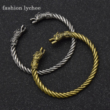 fashion lychee Norse Viking Double Dragon Head Antique Silver Color Bracelet Bangle Open Bangle Animal Jewelry Gift For Men(China)