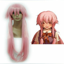 HAIRJOY Anime The Future Diary Gasai Yuno 80cm Long Straight  Light Pink Halloween Cosplay Wig