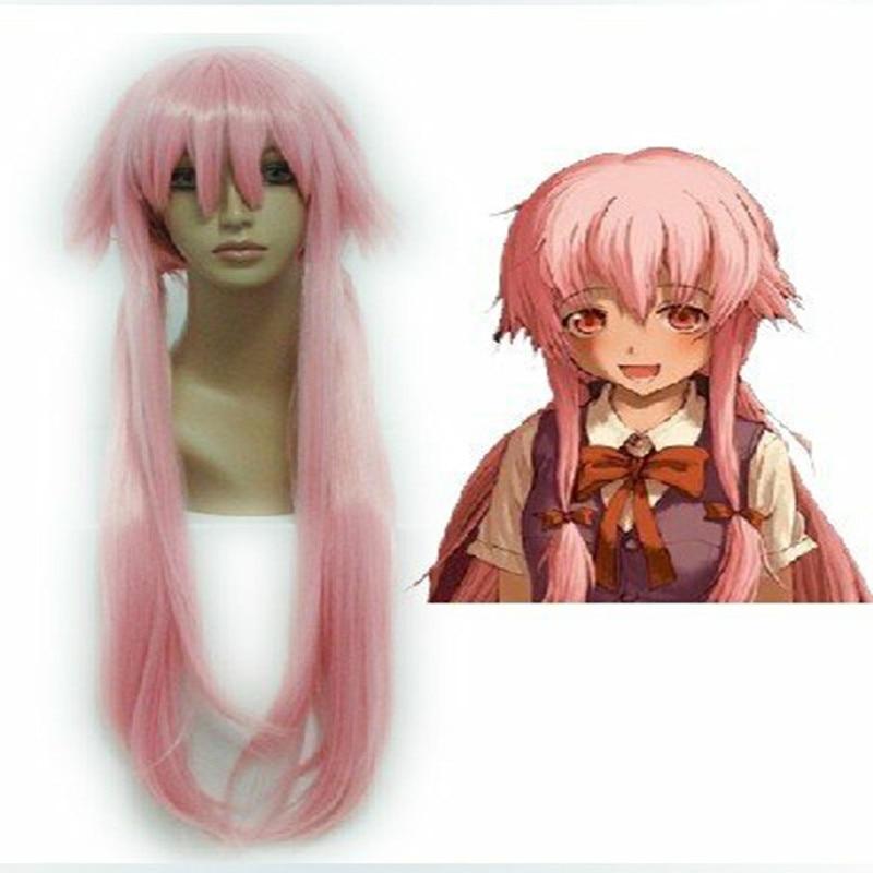 HAIRJOY Anime The Future Diary Gasai Yuno 80cm Long Straight  Light Pink Halloween Cosplay Wig<br><br>Aliexpress