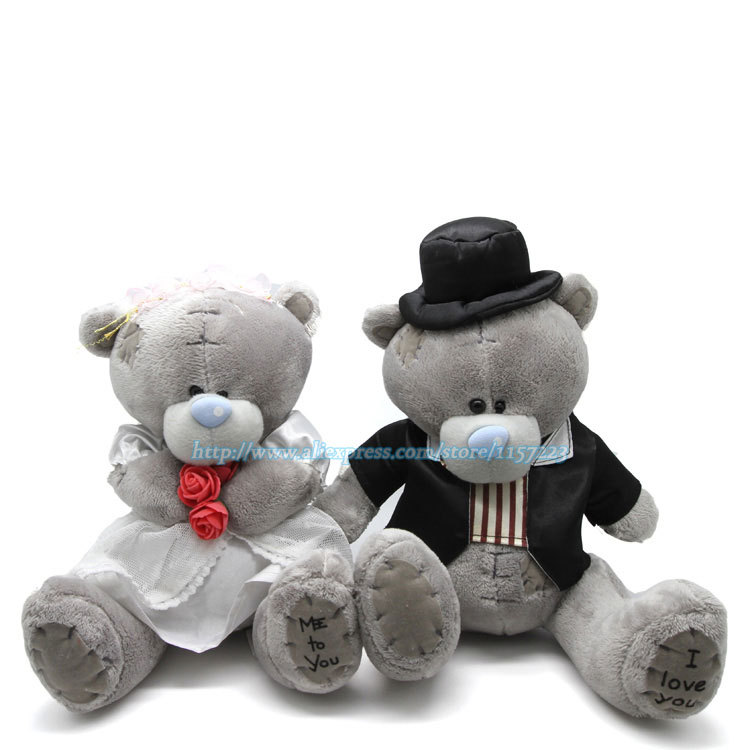 Wholesale 2pcs Bride and Groom Teddy Bears Plush Stuffed Toys Lovers Sitting Wedding Dress Bouquet Doll Christmas Gift<br><br>Aliexpress