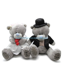 Wholesale 2pcs Bride and Groom Teddy Bears Plush Stuffed Toys Lovers Sitting Wedding Dress Bouquet Doll Christmas Gift(China)