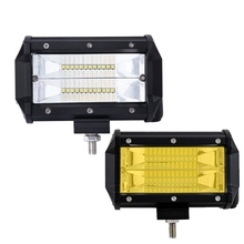 72W 5Inch 12v24v Led Car work lights Day Light for Off-Road Vehicle Light strip lamp motorcycle lights yellow LED spotlights(China)