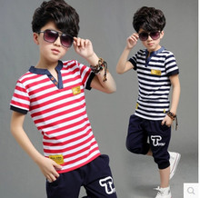 Cheap Kids boys short-sleeved suit 2017 new summer children's cotton casual strip T-shirt+shorts baby boys girls clothes 3-13 Y
