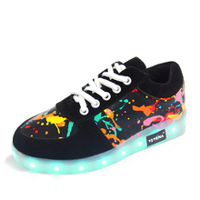 YPYUNA // USB illuminated krasovki luminous sneakers glowing kids shoes children with led light up sneakers for girls&boys ty00