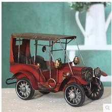 Latest Manual restoring Figurines vintage metal tin auto antique wrought iron car model home decoration furnishing articles