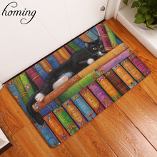 Homing Rectangle Light Welcome Home Door Mats Funny Lazy Bookshelf Sleeping Cat Pattern Carpets 40*60cm Thin Bathroom Carpets(China)