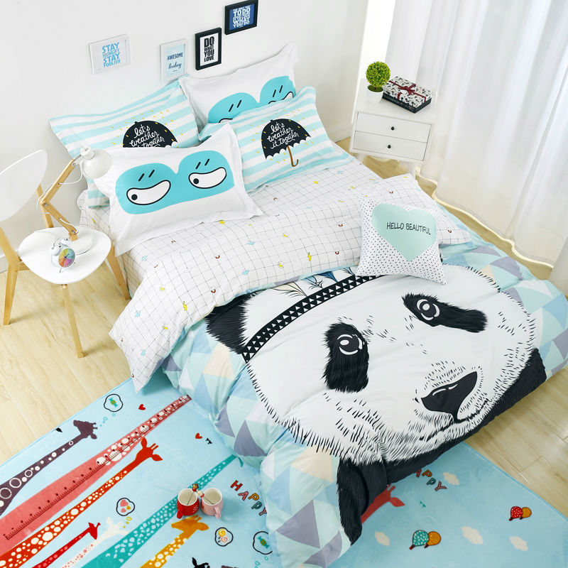 Fashion Black white panada bedding set cotton bed linen duvet cover set king or queen size bedsheet kids double bed in a bag(China)