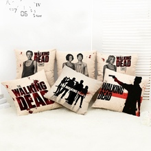 45x45cm The Walking Dead High Quality Printed Flax Blending Pillow Cover for Square Bedding Sofa Seat Back Cushion Pillowcase