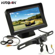 "Car LCD Monitor 4.3"" Car Rearview Camera Wireless Transmitter Rear View Night Vision Reverse Backup Camera 12V(China)"