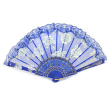 Sweet Chinese Vintage Style Nice Lace Trim Floral Print Foldable Hand Fan Supply(China)