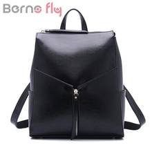 BERNO FLY Brand 2017 Genuine cow genuine leather backpacks for women Korean fashion leather bag Oil wax leather Travel backpack