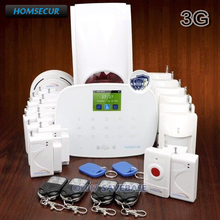 HOMSECUR Wireless WCDMA RFID SMS Autodial Home House Alarm System+Panic Button+Flash Siren
