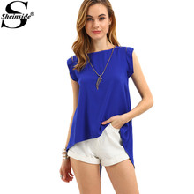 Sheinside Elegant Women Blouse Blue Cap Sleeve Split Back Tops O Neck Sleeveless Clothing 2017 New Summer Casual Blouse