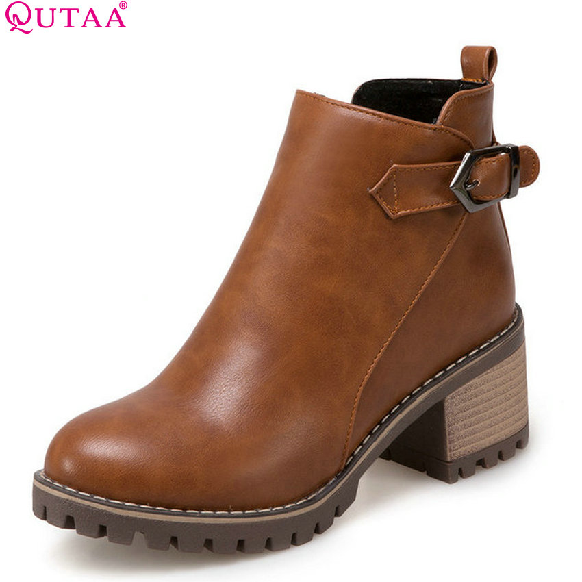 QUTAA 2018 Fashion All Match Women Ankle Boots Square High Heel Women Shoes Round Toe Zipper Pu Leather Women Boots Size  34-43<br>