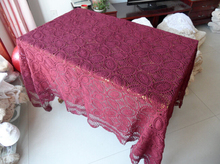 Hand Red wine color Tablecloths vintage Crochet Sofa towel wedding Bed Cover cloth Rectangular Table cloth Home Textile(China)