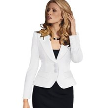 COCKCON Autumn/Winter 2016 Women Elegant Long Sleeve Turn Down Collar Button Feminina Wear to Work Blazer Black White Blue