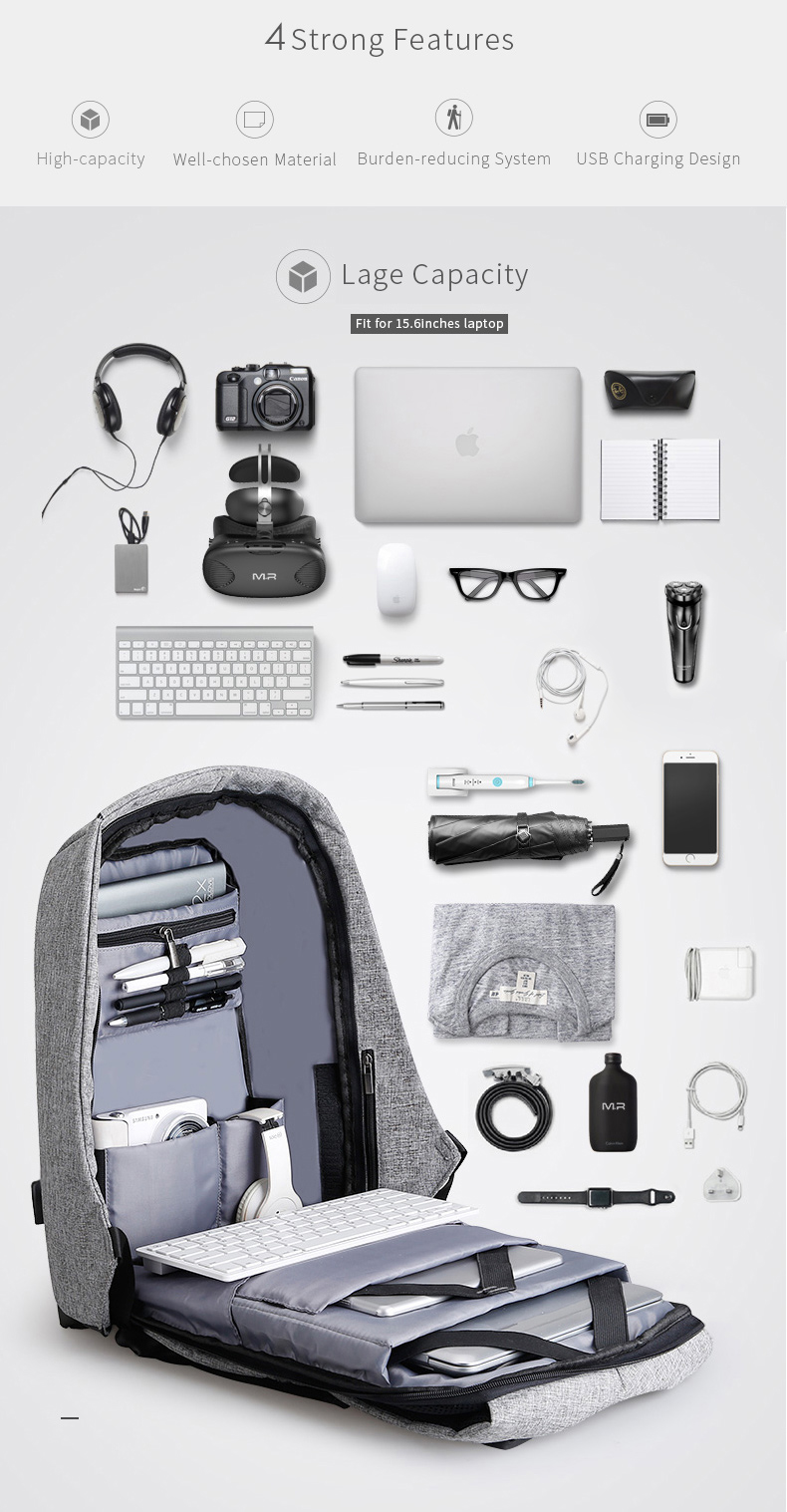 anti theft usb charging backpack deals