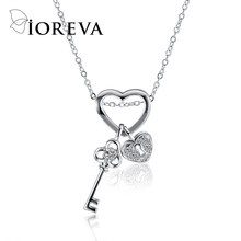 love heart chain necklaces & pendants silver color key zircon choker necklace statement women jewelry 925 colar collares