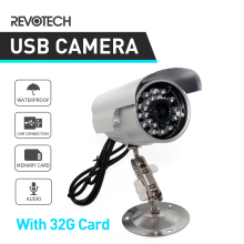 Hot Sale USB TF Card Record 24IR Outdoor Security Surveillance Camera Cam with 32GB TF CARD 1/4 CMOS 420TVL