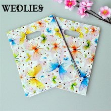 Plastic Gift Bags With Handle 100pcs Jewelry Shopping Bag 15x20cm Colorful Butterfly Birthday Plastic Packaging Wedding Favor