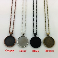 1pcs wholesale DIY Silver,Bronze, copper,black Round Pendant Tray Round Cameo Cabochon Base with 50cm chain Pendant 25mm
