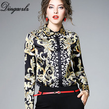 Buy Dingaozlz Elegant Floral Print Chiffon shirt Women Tops Long Sleeve Office lady blouse Fashion Autumn Ladies Blouse Femme Blusas for $17.67 in AliExpress store
