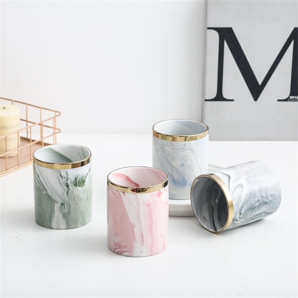 Marble Succulent Plants Flower Pot Wrought Iron Vase Ceramic Set Creative Flower Stand Home Gardening Table Decoration 6