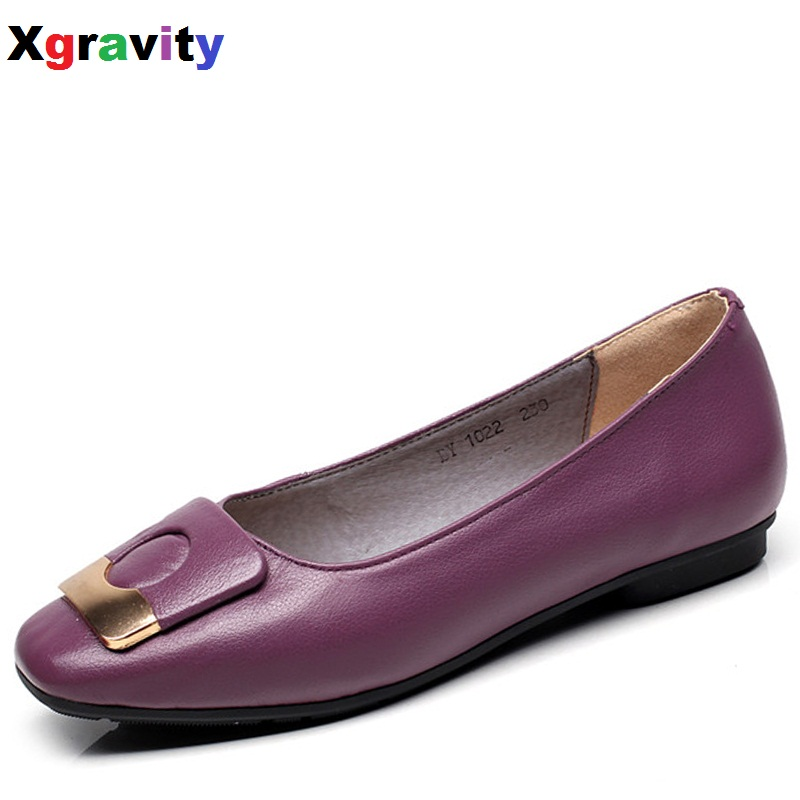 2018 New Autumn Soft Womans Flat Shoes Square Toe Fashion Woman Flats Elegant Comfortable Womens Genuine Leather Loafer C015<br>