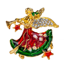 Hot Sales Enamel Brooch Christmas Angel Charm Costume Brooch Pins Jewelry Accessories for Women's girl badge Free Shipping