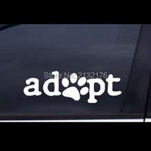 "ADOPT Paw Car Sticker  WHITE 8""x2.6"" Free Shipping Die Cut Decal Bumper Sticker for Windows, Cars, Trucks, Laptops, Etc."