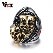 Vnox Fashion 2016 Two Heads Ghost Ring Stainless Steel Jewelry Men Punk Rock