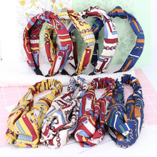 Wholesale 3Pcs 2017 New Fashion Flower Printed Headwrap Hairbands for Women Navy Blue White Cotton Women Headbands Hairbands