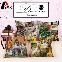"18"" Square Printed Linen Cushion Cover Colorful Real Cats Images Decorative Sofa Pillow Cases Fashion Car Customized Floral Cat(China)"