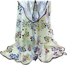 New Women Peacock Flower Print Oil Painting Long Rayon Scarf Female Shawls Birthday Gift New Arrival DP874116