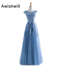 Real Picture 2018 Long Formal Gowns Vestido Longo Cap Sleeve Appliques Beaded Tulle Cheap Prom Dresses 2018 China Online Shop(China)