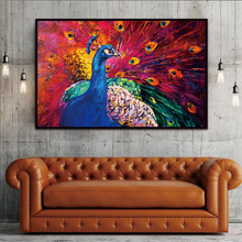 Canvas Prints Home Decor Modern Animal Wall Art Painting Peacock Unframed Modern Vintage Blue Peacock Wall Painting(China)