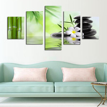 Unframed 5 Piece The Bamboo And Stones Modern Home Wall Decor Canvas Picture Art Hd Print Painting On Canvas Artworks