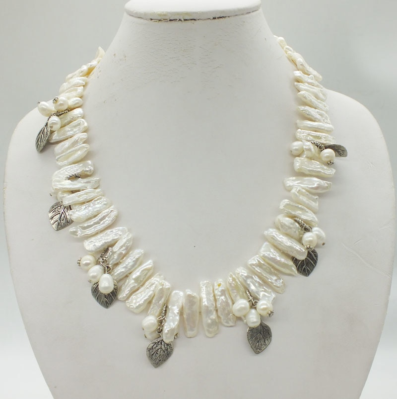 White freshwater biwa pearl knotted necklace  20""